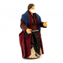 Woman with mask in dressed terracotta 10 cm