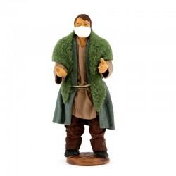 Shepherd Man with mask in dressed terracotta 10 cm
