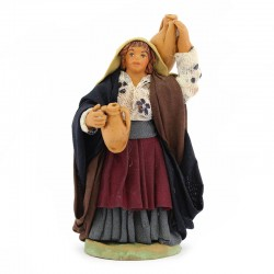Woman with amphorae in terracotta with dress 10 cm