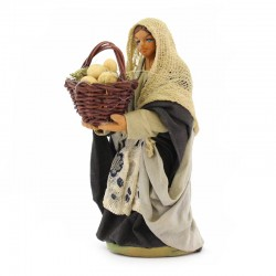 Woman with basket of eggs in terracotta with dress 10 cm