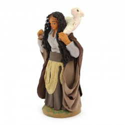 Woman with sheep on the shoulders in terracotta with dress 10 cm