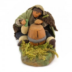 Drunk man sleeping next to barrel in terracotta with dress 10 cm