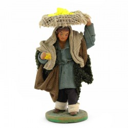Man with basket of lemons in terracotta with dress 10 cm