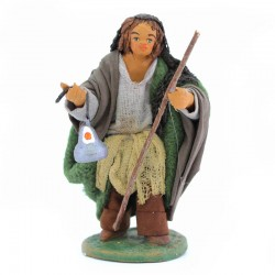 Man with lantern in terracotta with dress 10 cm