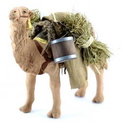 Terracotta and Clothing Standing Saddled Camel 10 cm