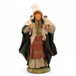 Donna con cesto e pecora in terracotta vestita 10 cm