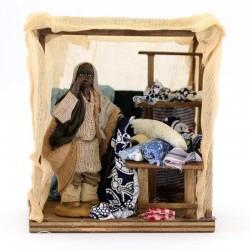Mercante moro con tenda in terracotta vestita 10 cm