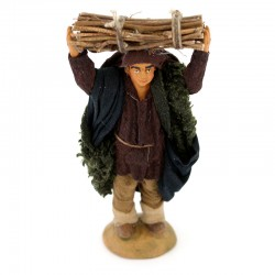 Terracotta and Clothing Man carrying Wood 10 cm
