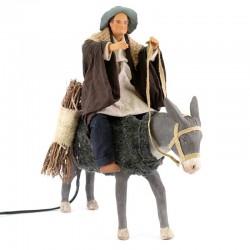 Uomo su asino terracotta vestita a movimento 24 cm