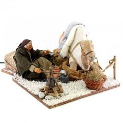 Cammelliere con cammello terracotta vestita a movimento 24 cm