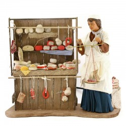 Moving butcher with stand in terracotta with clothes 24 cm