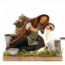 Moving sleeping man caressing dog with dressed terracotta 12 cm