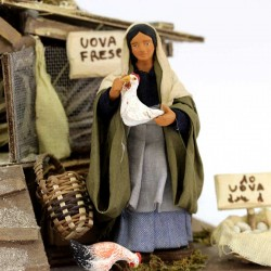 Terracotta and Clothing Moving Woman with Henhouse 12 cm