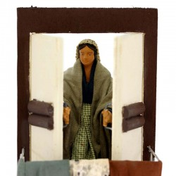 Moving women on balcony in terracotta with clothes 12 cm