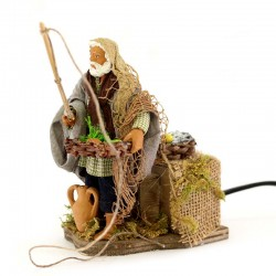 Standing fisherman moving in terracotta with clothes 12 cm
