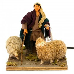 Moving shepherd with wool sheep with dressed terracotta 12 cm