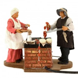 Moving couple with barbeque with dressed terracotta 12 cm