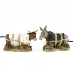 Moving Ox and Donkey in terracotta 12 cm