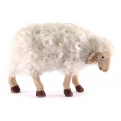 Pecora terracotta con lana per pastori 24 cm