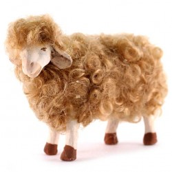 Terracotta and Wool Sheep A for Shepherds 20-24 cm