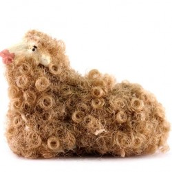 Terracotta and Wool Sheep for Shepherds 12 cm