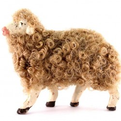 Terracotta and Wool Sheep A for Shepherds 12 cm