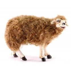 Pecora-A terracotta con lana per pastori 30 cm