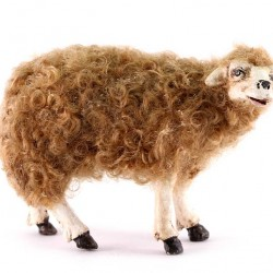 Terracotta and Wool Sheep A for Shepherds 30 cm