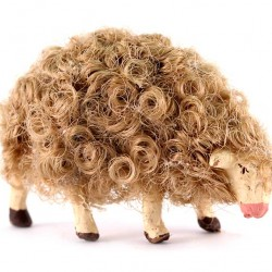 Terracotta and Wool Sheep A for Shepherds 10 cm