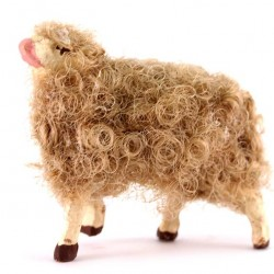 Terracotta and Wool Sheep B for Shepherds 10 cm
