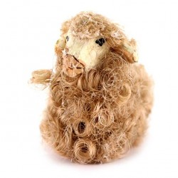 Terracotta and Wool Sheep C for Shepherds 10 cm