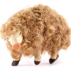 Terracotta and Wool Sheep B for Shepherds 8-10 cm
