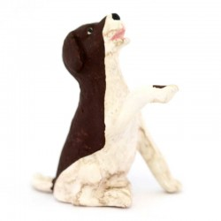 Terracotta Brown and White Dog 12 cm