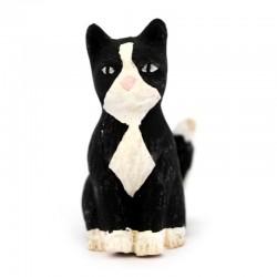 Gatto nero seduto in terracotta 12 cm