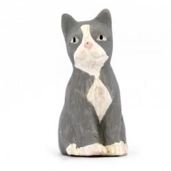 Gatto grigio seduto in terracotta 12 cm
