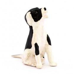 Terracotta and Clothing Black & White Sitting Dog 12 cm