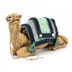 Seated harnessed camel for wise men in terracotta 12 cm