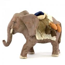 Elefante bardato in terracotta 12 cm