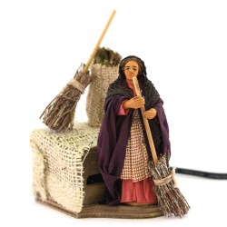 Moving woman sweeping in dressed terracotta 10 cm