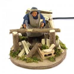 Moving lumberjack in dressed terracotta 10 cm