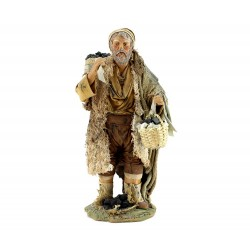 Carbonaio con sacco alle spalle in terracotta vestita 24 cm