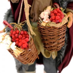Dressed terracotta man with baskets of garlic and tomatoes 24 cm