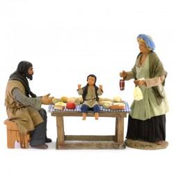 Dressed terracotta scene of Family having dinner 24 cm