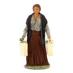 Dressed terracotta woman with shopping bags 24 cm