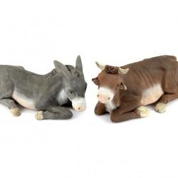 Terracotta Sitting Donkey and Ox 24 cm