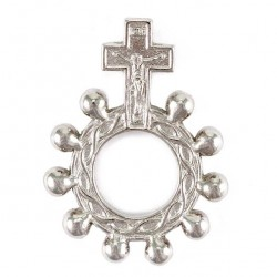 Basque Single Decade Rosary Ring silvery metal