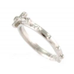 Rosario anello metallo argentato con croce 18 mm