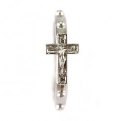 Single Decade Rosary Ring, silvery metal with cross 18 mm