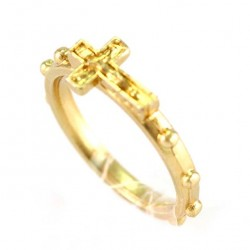 Golden Metal Rosary Ring with Cross 15 mm