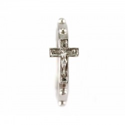 Silver metal ring rosary with cross 24 mm